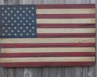 Rustic Wooden American Flag, 23 X 36 inches. Made from recycled fencing. Free Shipping H