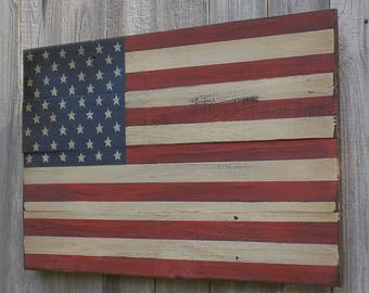 Rustic Wooden American Flag, 15 X 24 inches. Made from reclaimed wood.  A