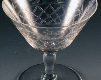 Fostoria Trellis Cut Crystal Low Sherbet 1920s #169 Stem Clear Vintage Stemware Elegant Glass Glassware