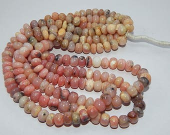 beautiful 223 cts natural pink Opal smooth rondelle Beads opal size 9 mm 16 inch long 1 strand at best price