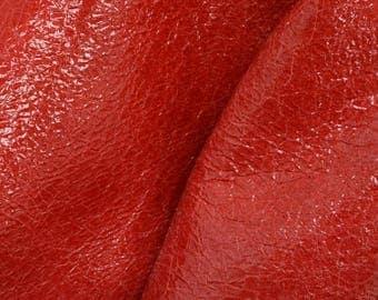 "Leather Fashion New Zealand PAC Deerskin Pre-cut 12"" x 12"" Flaming Red 2 1/2- 3 oz DE-63275 (Sec 6,Shelf 5,A)"