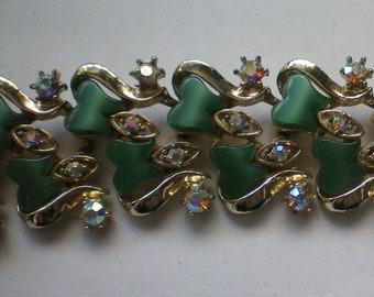 Green Thermoset Bracelet with AB Rhinestones - 5882