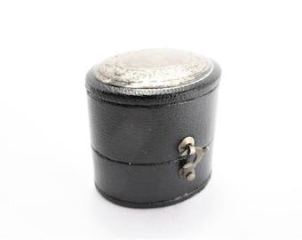 Vintage Style Sterling Top Black Ring Box
