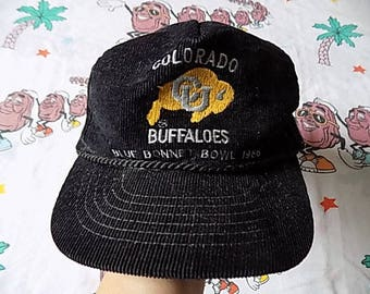 Vintage 80's Colorado Buffaloes Blue Bonnet Bowl 1986 Corduroy Snapback Hat, Adult Size college sports University USA made