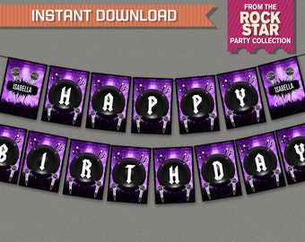 Rockstar Party Printable Birthday Banner with Spacers (Purple) - Editable PDF file - Print at home - Roickstar Birthday - Rockstar Banner