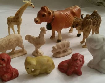 1960's Mixed Misc Mini Animals Porcelain Plastic Rubber Mix