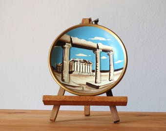 Ceramic Hanging Plate, Parthenon, Ancient Greece Decor, Ceramic Wall Hanging, Ceramic Art, Wall Plate, Decorative Plate, Hanging Tray, Plate