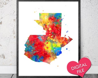 Guatemala Map Watercolor PRINTABLE Art Digital Download Print Wall
