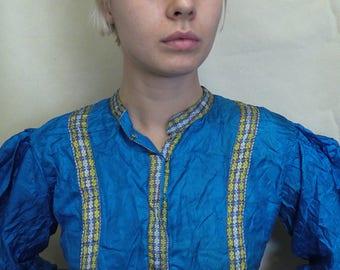 Blue Silk Dress from Thailand (UK size 10)
