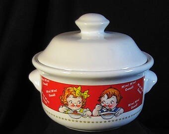 Vintage 1998 Campbell Kids Covered 14oz Soup Bowl, Campbell Soup Bowl