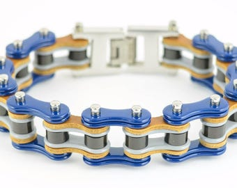 Men's Stainless Steel Blue Grey Black Bike Chain Bracelet US Seller