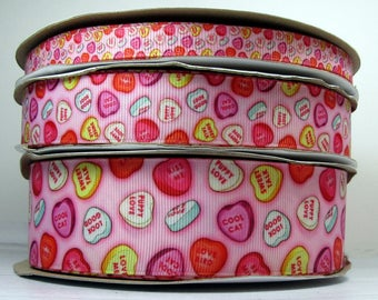 """2 or More Yards of Your Choice of 3/8, 7/8"""" or 1.5"""" Valentines Day Sweetheart Conversation Heart Candy Print Grosgrain Ribbon"""