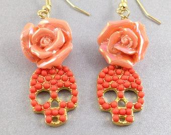Orange Skull Earrings, Skull and Rose Earrings, Halloween Earrings, Day of the Dead Earrings, Halloween Jewelry
