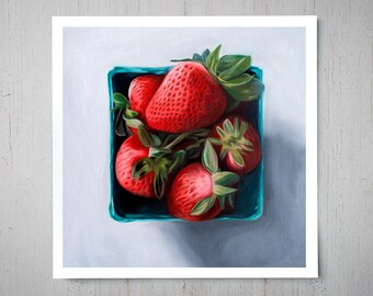 Strawberry Basket - Fine Fruit Art Oil Painting Archival Giclee Print Decor by Artist Lauren Pretorius