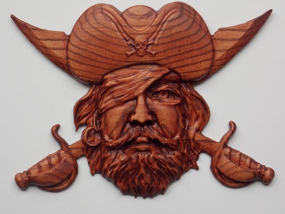 PIRATE DECOR - BEARDED PIRATE WOOD CARVING WALL HANGING