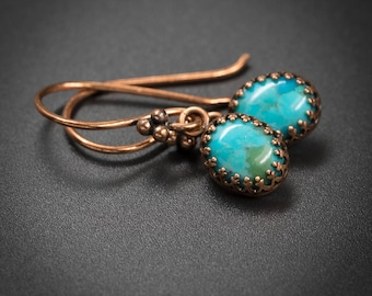 Turquoise earrings turquoise and copper handmade semiprecious stone drop earrings turquoise copper gemstone earrings turquoise jewelry