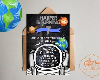 Space Birthday Invitation, Out of this World Invitation, Astronaut Birthday Invitation, Space Invitation, Out of the World Birthday