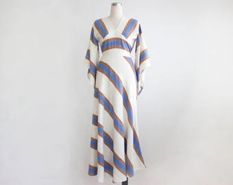70s Boho Maxi Dress, Vintage Striped White Dress, Ethnic Cotton Dress, Long Gipsy Dress with Sleeves Size Small Medium