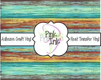 Rustic Turquoise Striped Patterned Craft Vinyl and Heat Transfer Vinyl Pattern 629
