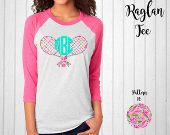 Monogram Shirt, Tennis Monogram, Monogram Raglan Tee // Monogram T-Shirt in Pattern 16
