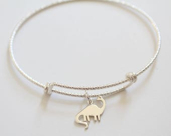 Sterling Silver Bracelet with Sterling Silver Dinosaur Charm, Dinosaur Charm Bracelet, Brontosaurus Dinosaur Bracelet, Brontosaurus Dinosaur