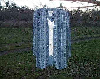 Vintage 80s Does STEAMPUNK COSPLAY EDWARDIAN Look Blouse-Vest-Jacket All in One Piece, w Chain, 8 M