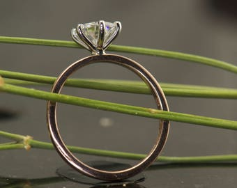1ct Forever One Moissanite Engagement Ring Solitaire in 14k Rose Gold with a 14k White Gold Head, Classic 6-Prong, 1.6mm Wide, Estrella F