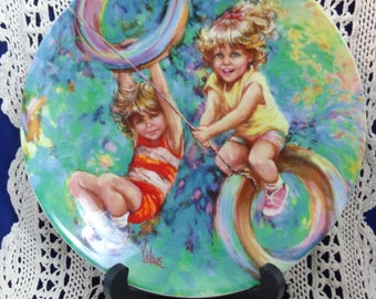 Riding High Plate with COA, Wedgwood Mary Vickers Collector Plate, Vintage Childrens Plate, Artist Mary Vickers, Riding High Childrens Plate