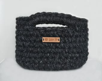 Made to Order: Small crocheted basket with handles