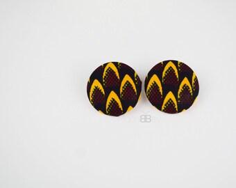 African fabric stud earrings, ankara earrings, birthday gift, gift for women, afro chic earrings, handmade earrings, afro jewellery