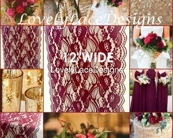"NEW Burgundy Weddings/ Burgundy Lace Table Runner/3ft-10ft long x 12"" Wide/Wedding Decor/ Overlay/Tabletop Decor/Centerpiece/FREE runner"