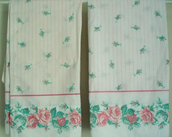 Vintage Shabby Pillowcase Pair Pink Rose Shabby Cottage Chic Vintage J.P. Stevens 50/50 Percale Pink Rose on White Stripe Standard Size