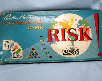 1959 Risk Board Game Parker Brothers 1959 With Original Wood Pieces Vintage
