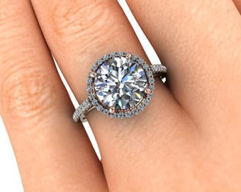 Two-Tone Moissanite Engagement Ring, 9mm Round Cut Forever One, Rose Gold and White Gold, 2.70 Carat Moissanite, Diamond Alternative