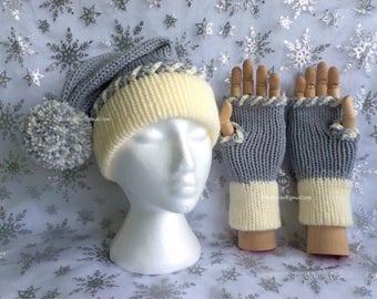Silver & Cream Slouchie Bobble Hat and Fingerless Gloves Set