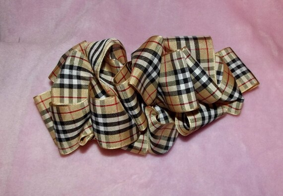 "Puppy Bows ~ ribbon craft supplies  1.5"" or 1"" brown tan black red Burberry inspired plaid ribbon buy per yard"