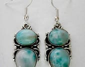 ENDLESS SUMMER SALE Awesome Aaa Robins Egg Blue Larimar Earrings .925 Sterling Silver  Approx 1 3/4""