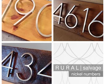 R U R A L | salvage  Modern Nickel House Numbers