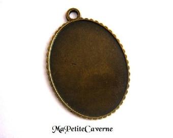 medium oval cabochon 45 x 35 mm bronze