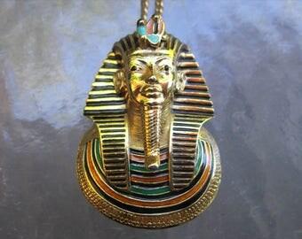 Vintage signed Eisenberg King Tut gold pendant necklace - estate jewelry