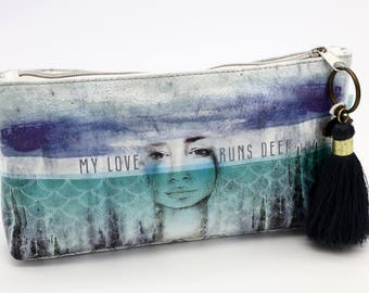 Blue and Teal Graphic Design Cosmetic Bag