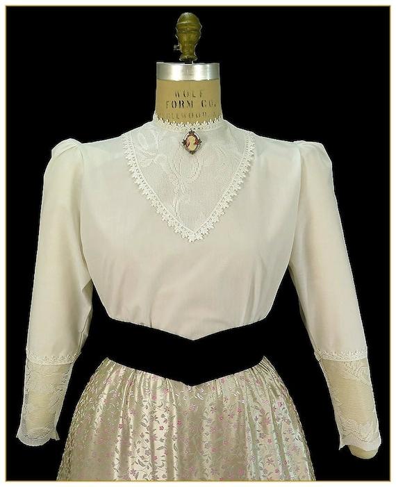 Edwardian Blouses | White & Black Lace Blouses & Sweaters Lace Victorian BlouseLace Victorian Blouse $39.00 AT vintagedancer.com