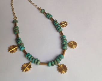 Turquoise and 24k Gold Vermeil Ariadne Disc Necklace