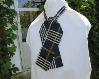 "Vintage Victorian Edwardian 1890s 1900s plaid silk tie cravat blue gold red 15"" neck (21217)"