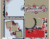 Firecracker 4th of July Digital Scrapbook Quick Pages, Cluster and Layered Paper
