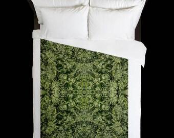 Leaf Duvet Cover, Bohemian Duvet Cover Rhino Bolt Cannabis Print,Duvet Cover Floral, Leaf Bedding,Hippy Decor, Duvet Cover Full