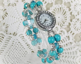 Wrist watch quartz watch bracelet Womens watch stretch Howlite beads turquoise crystal glass beads