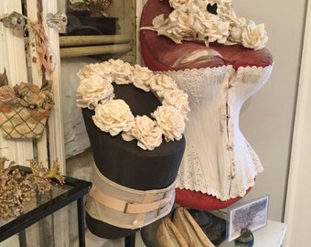 RARE Tabletop Corset Dress Form Mannequin Cavanaugh Counter Display with Advertising Sign