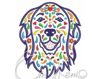 MACHINE EMBROIDERY DESIGN - Calavera flat retriever, Calavera dog, Day of the dead