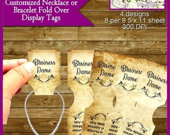 Fold Over Jewelry Tags for Necklace or Bracelet, Grunge Style, Weathered Inspired - Printable Digital File